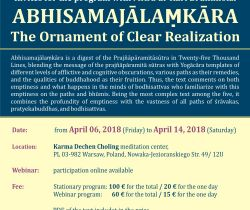 6-14 April Karl Brunnhölzl ABHISAMAJĀLAṂKĀRA The Ornament of Clear Realization
