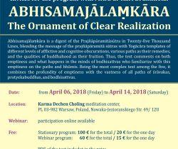 6-14 April Karl Brunnhölzl ABHISAMAJĀLAṂKĀRA The Ornament of Clear Realization